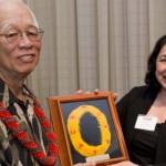 Mel Nakamura pictured with Pris Texeira of Hawai`i Business Ambassadors