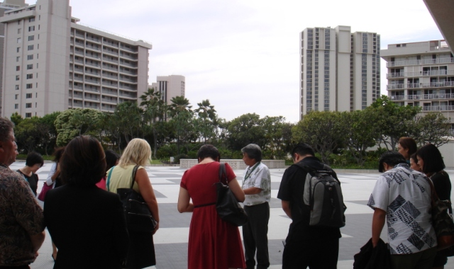 MCI International Sales Partners tour the Hawai`i Convention Center. Here they inspect the Center's Rooftop Garden function space.