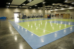 New Basketball Equipment at the Hawaii Convention Center (high-grade plastic flooring)